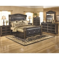 Ashley Coal Creek 6 Piece King Drawer Bedroom Set in Dark Brown