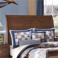 Wilmington Wood Sleigh Headboard in Brown