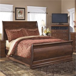 Ashley Wilmington Wood Queen Sleigh Bed in Brown