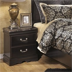 Ashley Esmarelda 2 Drawer Wood Nightstand in Merlot