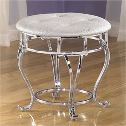 Ashley Zarollina Round Upholstered Faux Croc Leather Stool in Silver