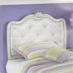 Ashley Zarollina Faux Croc Leather Twin Headboard in Silver