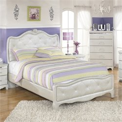 Ashley Zarollina Faux Croc Leather Upholstered Full Bed in Silver