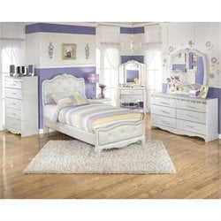 Ashley Zarollina Faux Croc Leather Twin Bedroom Set in Silver