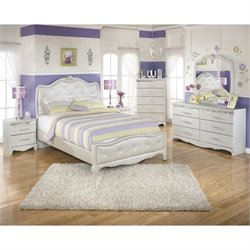 Ashley Zarollina Faux Croc Leather Full Bedroom Set in Silver