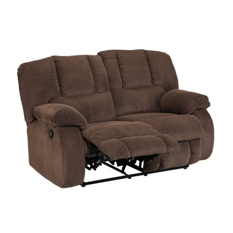 Ashley Roan Fabric Reclining Loveseat In Cocoa 3860486