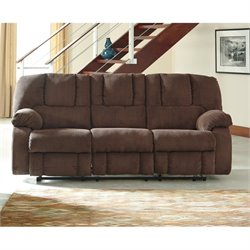 Ashley Roan Fabric Reclining Sofa in Cocoa