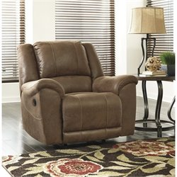 Ashley Niarobi Faux Leather Rocker Recliner in Saddle