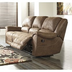 Ashley Niarobi Faux Leather Reclining Sofa in Saddle