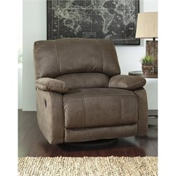 Ashley Seamus Faux Leather Swivel Glider Recliner in Taupe