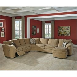 Ashley Coats 5 Piece Fabric Sleeper Sectional in Dune