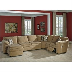Ashley Coats 4 Piece Left Chaise Fabric Sleeper Sectional in Dune