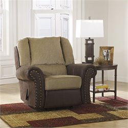 Ashley Vandive Fabric Rocker Recliner in Sand
