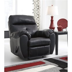 Ashley Bastrop Leather Rocker Recliner in Midnight
