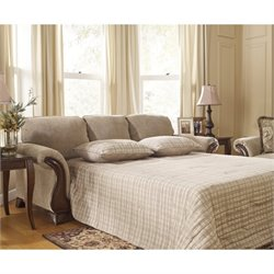 Ashley Lanett Fabric Queen Size Sleeper Sofa in Barley