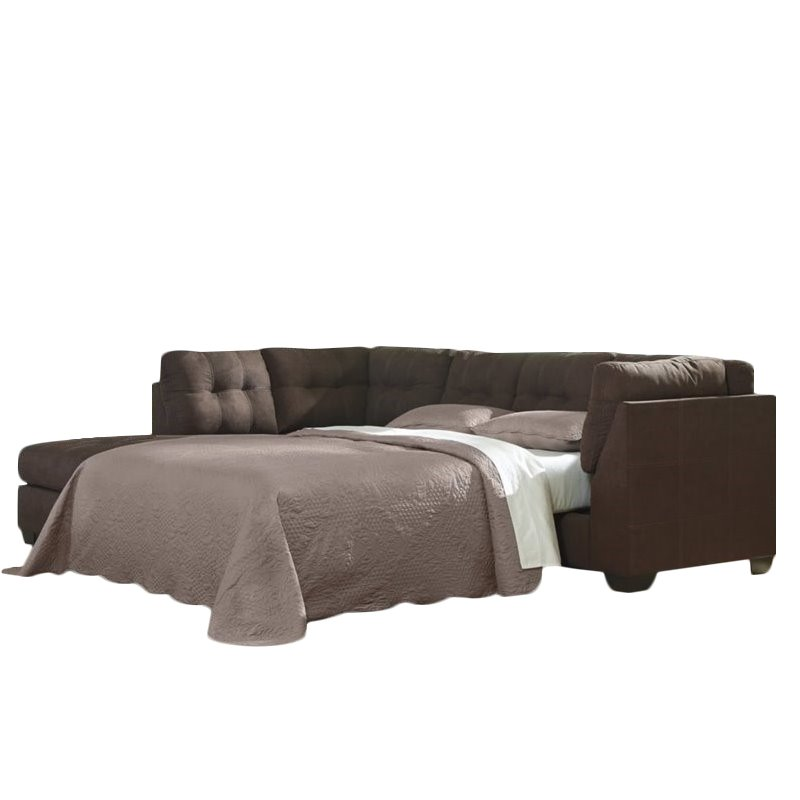 ashley maier 2 piece left fabric chaise sleeper sectional