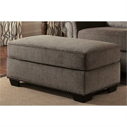 Ashley Emelen Chenille Ottoman in Alloy
