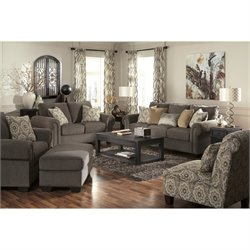 Ashley Emelen 5 Piece Chenille Sofa Set in Straw