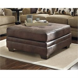 Ashley Kelemen Fabric Oversized Accent Ottoman in Amber