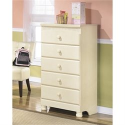 Ashley Cottage Retreat 5 Drawer Wood Chest in Cream