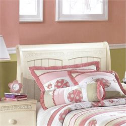 Ashley Cottage Retreat Wood Twin Sleigh Headboard in Cream