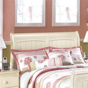 Ashley Cottage Retreat Wood Sleigh Headboard in Cream