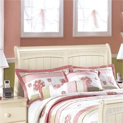 Ashley Cottage Retreat Wood Full Sleigh Headboard in Cream
