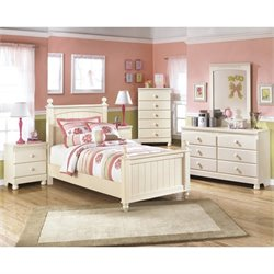 Ashley Cottage Retreat 6 Piece Wood Panel Bedroom Set in Cream