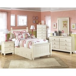Ashley Cottage Retreat 6 Piece Wood Drawer Bedroom Set in Cream