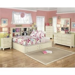 Ashley Cottage Retreat 5 Piece Wood Full Bookcase Bedroom Set in Cream
