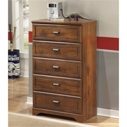 Ashley Barchan 5 Drawer Wood Chest in Brown