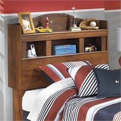 Ashley Barchan Wood Twin Bookcase Headboard in Brown