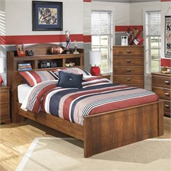 Barchan Wood Bookcase Bed in Brown