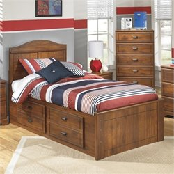 Ashley Barchan Wood Twin Panel Drawer Bed in Brown