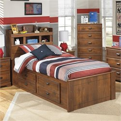 Barchan Wood Twin Bookcase Drawer Bed in Brown