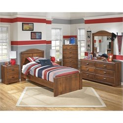 Ashley Barchan 6 Piece Wood Twin Panel Bedroom Set in Brown
