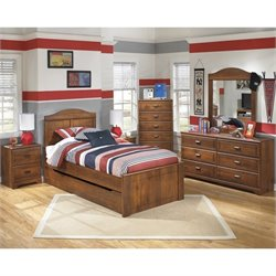 Ashley Barchan 7 Piece Wood Twin Panel Bedroom Set in Brown