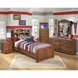 Ashley Barchan 6 Piece Wood Twin Bookcase Bedroom Set in Brown