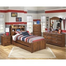 Ashley Barchan 7 Piece Wood Twin Bookcase Bedroom Set in Brown