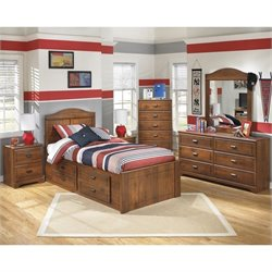 Ashley Barchan 6 Piece Wood Twin Drawer Bedroom Set in Brown