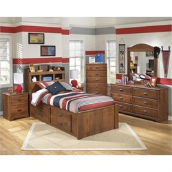 Ashley Barchan 6 Piece Wood Twin Bookcase Drawer Bedroom Set in Brown
