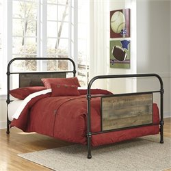 Ashley Trinell Metal Bed in Dark Brown