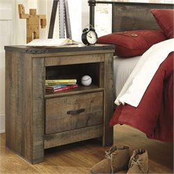 Ashley Trinell 1 Drawer Wood Nightstand in Brown