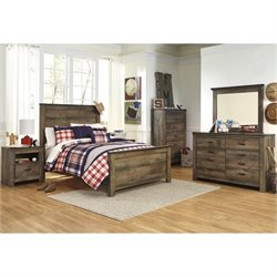 Ashley Trinell 6 Piece Wood Full Panel Bedroom Set in Brown