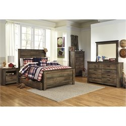 Ashley Trinell 7 Piece Wood Full Panel Bedroom Set in Brown