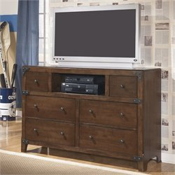 Ashley Delburne 6 Drawer Wood Media Double Dresser in Brown