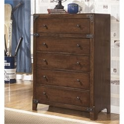 Ashley Delburne 5 Drawer Wood Chest in Brown