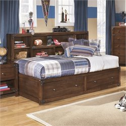 Ashley Delburne Wood Twin Bookcase Mates Bed in Brown