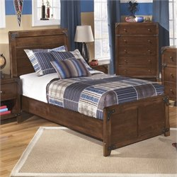Ashley Delburne Wood Twin Panel Bed in Brown