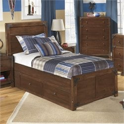 Ashley Delburne Wood Twin Panel Drawer Bed in Brown